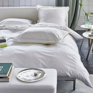 White Collection ASTOR PALE GREY & LIME Perkal Bettwäsche