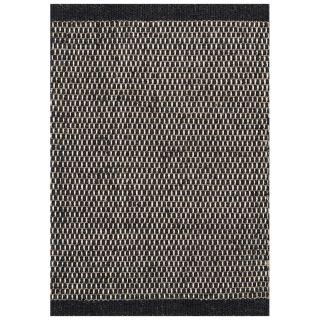 handgewebter Teppich ASKO black Wolle/Baumwolle