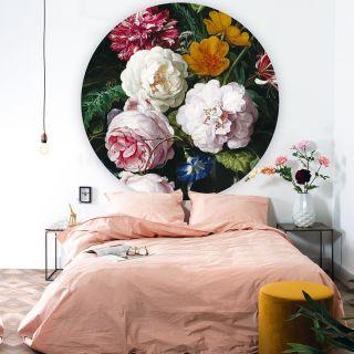 "Tapetenpanel ""Golden Age Flowers"" rund Dessin 012"