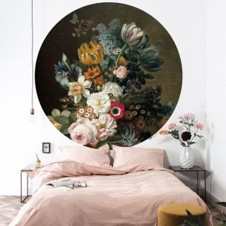 "Tapetenpanel ""Golden Age Flowers"" rund Dessin 075"