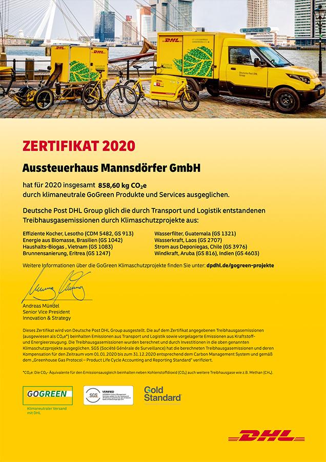 DHL Zertifikat GoGreen 2020