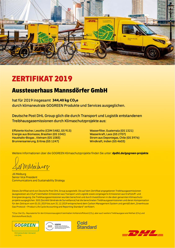 GoGreen Zertifikat 2019